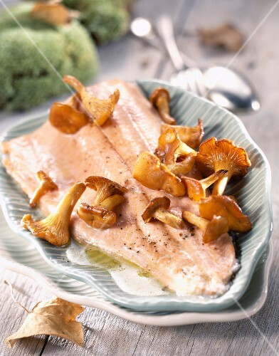 Salmon fillet with chanterelles and butter sauce
