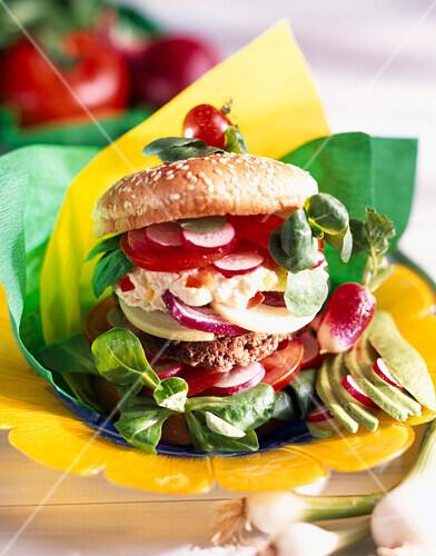 Hamburger with watercress and radish