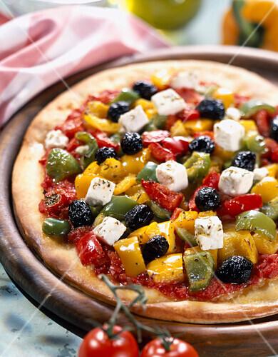 Pepper and feta pizza