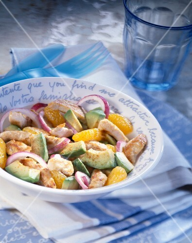 Chicken salad with orange and avocado