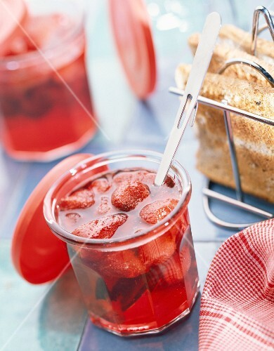 Pot of strawberry jam