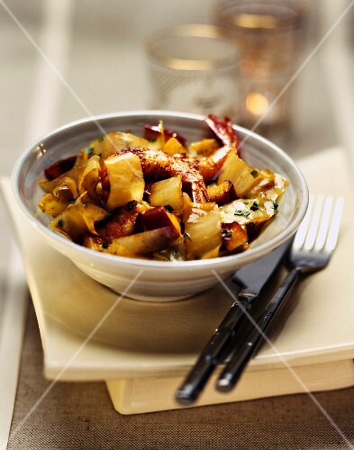 Sauteed French chicory with prawns