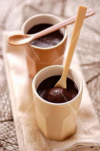 Individual chocolate cream desserts