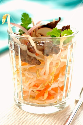 Beansprout and marinated beef salad
