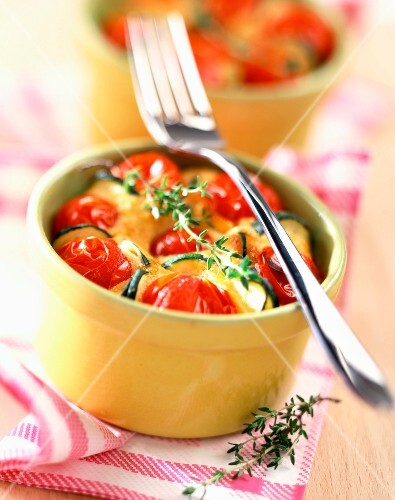 Tomato and courgettes in batter