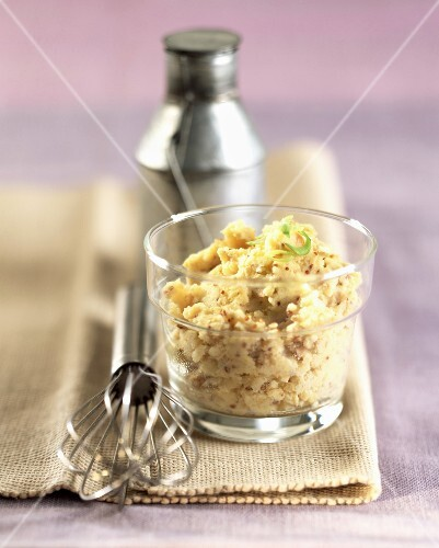 Mashed potato with traditional-style mustard