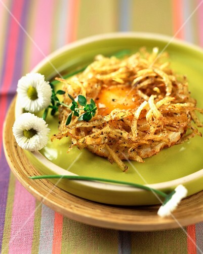 Fried and grated potato nest