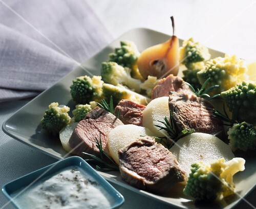 Filet mignon with rosemary and romanesco cabbage