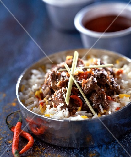 Rendang daging spicy beef stew with fresh peppers