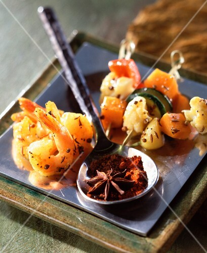 Mini vegetable, prawn and spiced kebabs