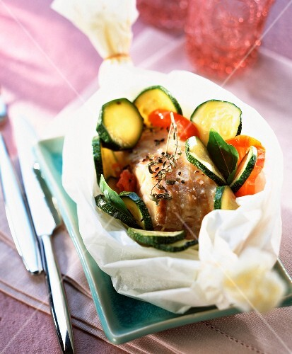 Pollack papillote with courgettes