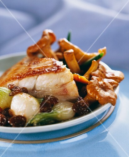 Roast turbot with girolle mushrooms, onions and raisins