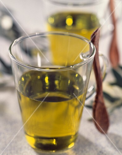 Glasses of olive oil