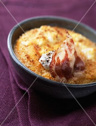 Pumpkin and curdled fresh goat's cheese gratin