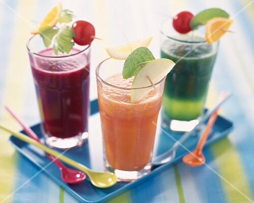 Glasses of fruit and vegetable smoothies