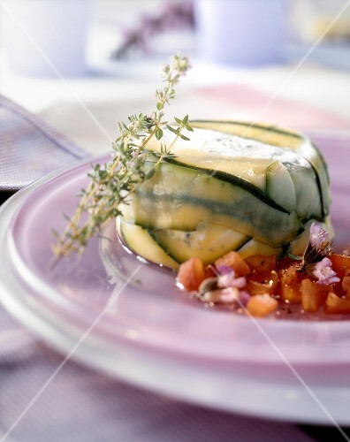 Individual courgette and goat cheese terrine