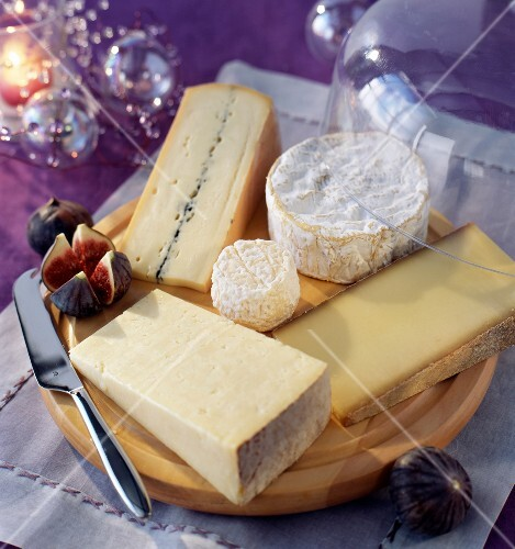 Cheeseboard with selection of cheeses