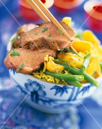 Duck Magret with curry and pineapple