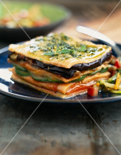 Salmon and grilled vegetable Mille-feuille