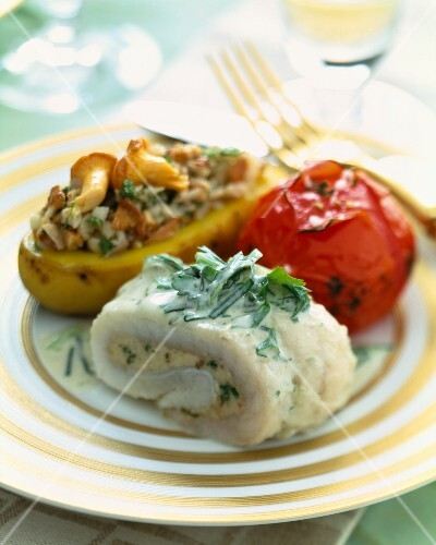 Stuffed sole fillet with potato and mushrooms