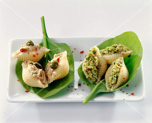 Conchiglies stuffed with tuna and pesto