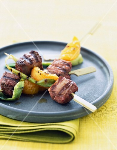 fillet of duck breast and apricot skewers