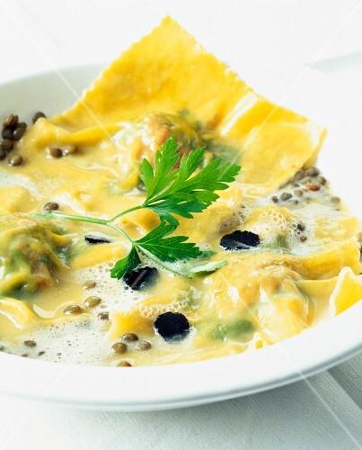Truffle and lentil ravioli