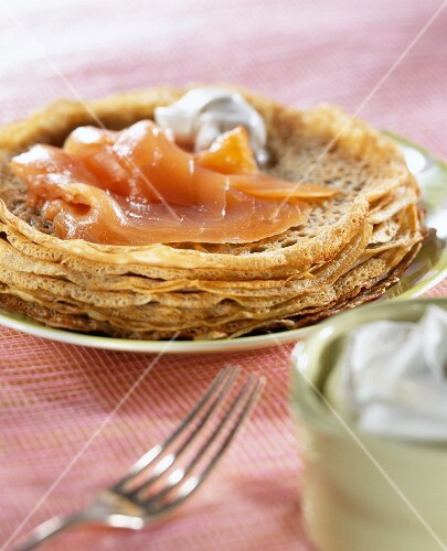 Mini buckwheat pancakes with smoked salmon