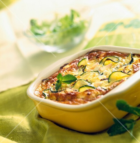 Courgette clafoutis batter pudding