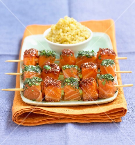 marinated salmon skewers