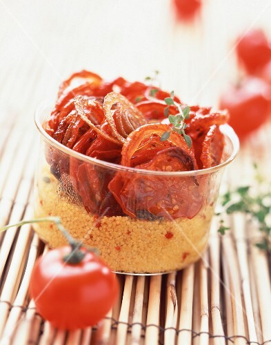 Verrine of dried tomatoes and semolina