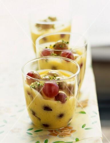 Grape and pistachio sabayon dessert