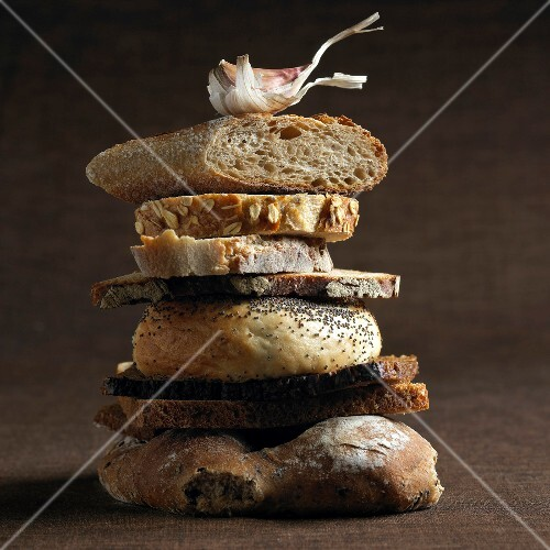 Stacked assorted bread