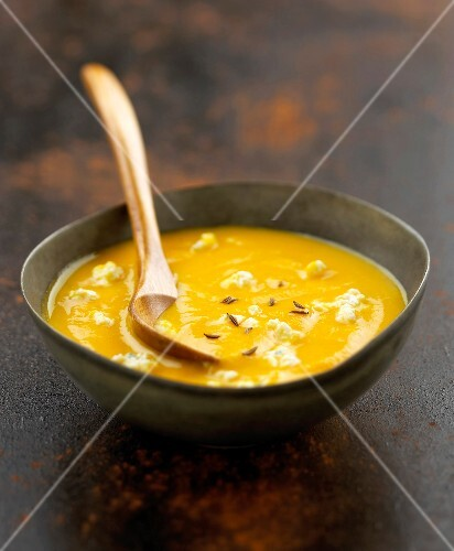 Creamed carrot soup with boursin cheese and caraway