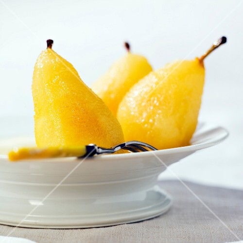 Pears poached in Sauterne wine