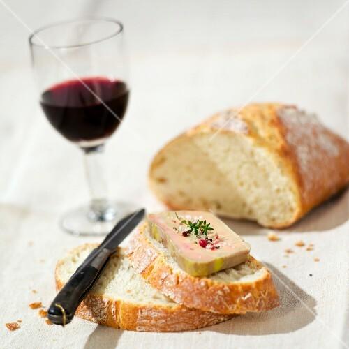 Slice of bread with foie gras