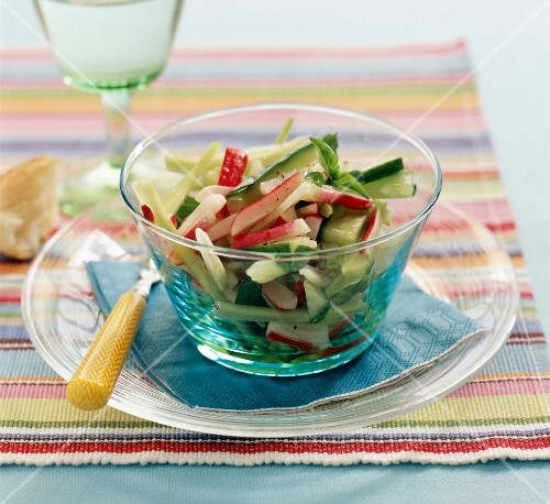 Crunchy spring salad with radishes and cucumber
