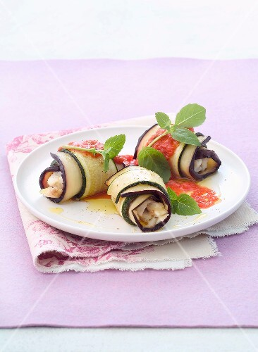 rolled eggplants and courgettes with scorpion fish