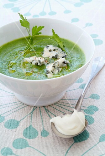 Spinach,broccoli and parsley soup with bluecheese