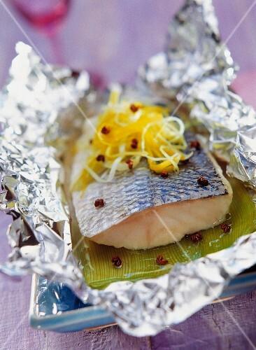Bass with sechuan pepper in aluminium foil