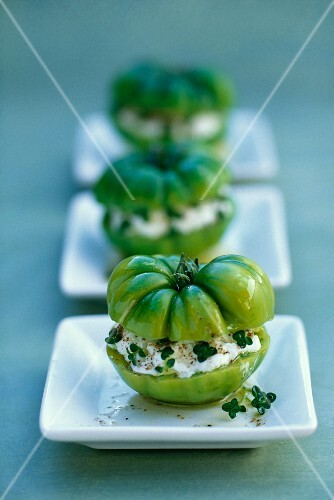 Tomatoes stuffed with fresh goat's cheese and thyme