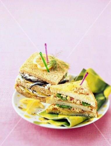 Sardine club sandwich and riviera club sandwich
