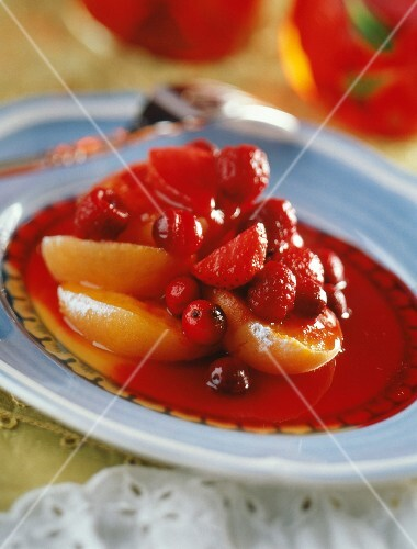 Fruit salad with apricots and fruits of the forest