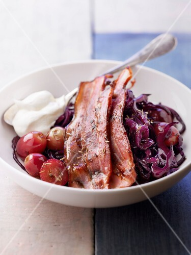 Smoked bacon ,stewed red cabbage with grapes