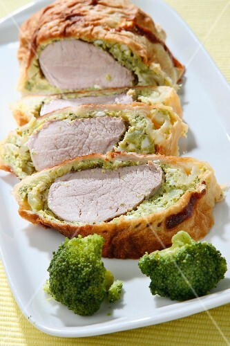 Roast pork with a broccoli crust