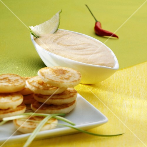Blinis and taramosalata (a dip made from fish roe, Greece)