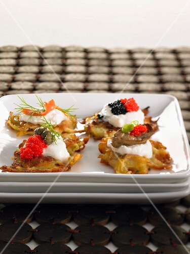 Mini potato fritters as appetisers