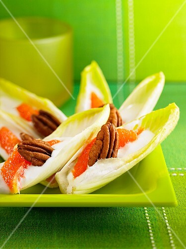 Chicory boats with pink grapefruit, yoghurt and pecan nuts
