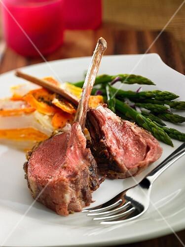 Lamb chops with a potato and carrot gratin