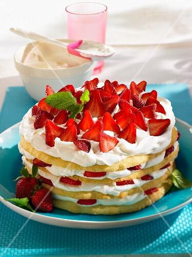 Crispy strawberry millefeuille